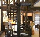 timber spiral stairs