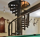 round wooden staircase